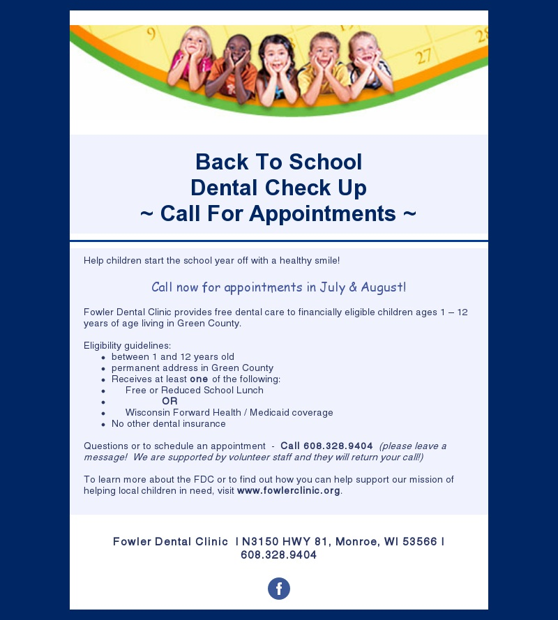 It's Back To School (Dental Exam) Time! – Fowler Memorial